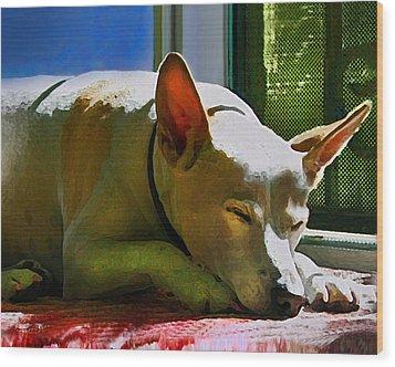 My Dog Mike Wood Print by Debra Collins