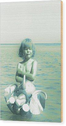 My Elephant - My Ocean - My World Wood Print by Li   van Saathoff