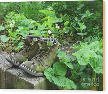 Wood Print featuring the photograph My Favorite Boots by Nancy Patterson