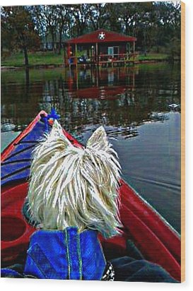 My Kayaker Buddie Wood Print by Carrie OBrien Sibley