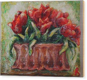 My Little Tulips  Wood Print