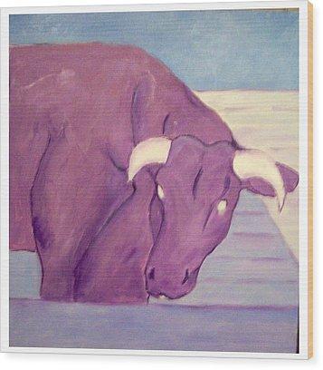 My Purple Cow Wood Print by Sue Prideaux