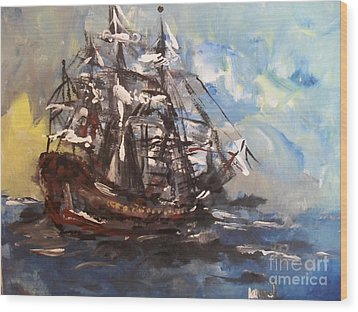 Wood Print featuring the painting My Ship by Laurie L