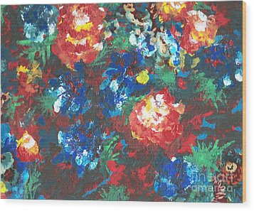 Wood Print featuring the painting My Sister's Garden II by Alys Caviness-Gober