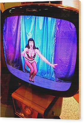 My Vegas Caesars 23 Betty Page Wood Print by Randall Weidner