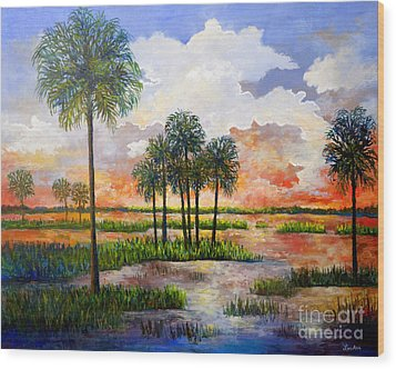 Wood Print featuring the painting Myakka Sunset by Lou Ann Bagnall