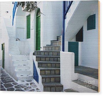 Mykonos Stairs Wood Print by Rebecca Margraf