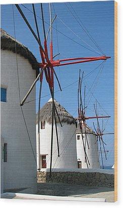 Mykonos Windmills Wood Print by Carla Parris