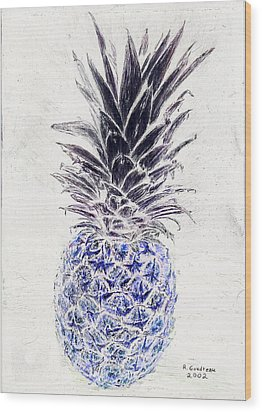 Mysterious Blue Pineapple Wood Print by Robert Goudreau