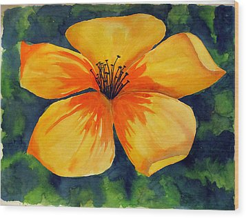 Mysterious Yellow Flower Wood Print