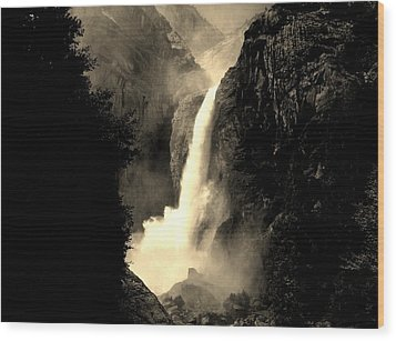 Mystery Falls Wood Print by Ellen Heaverlo