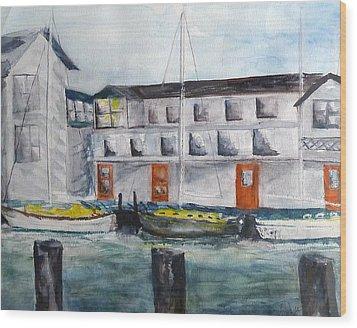Mystic Harbor Wood Print by Linda Pope