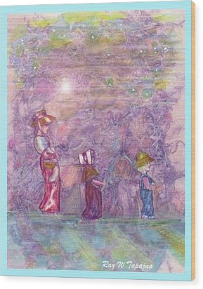 Wood Print featuring the mixed media Mystical Stroll by Ray Tapajna