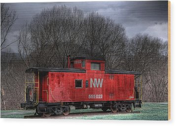 N W Caboose Wood Print by Todd Hostetter
