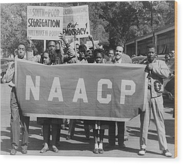 Naacp Banner Is Held By Protesters Wood Print by Everett