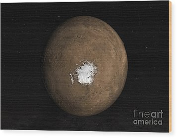Nadir View Of The Martian South Pole Wood Print by Stocktrek Images