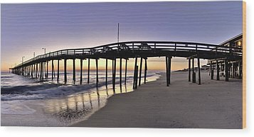 Nags Head Fishing Pier At Sunrise - Outer Banks Scenic Photography Wood Print by Rob Travis