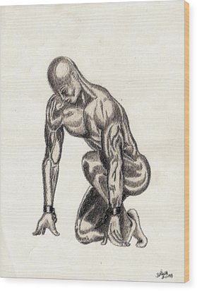 Naked Man Wood Print by Shawn Williams