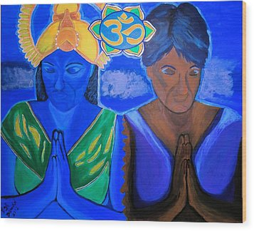 Wood Print featuring the painting Namaste-we Are One by Lisa Brandel