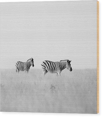 Namibia Zebras I Wood Print