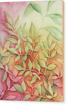 Wood Print featuring the painting Nandina Leaves by Carla Parris