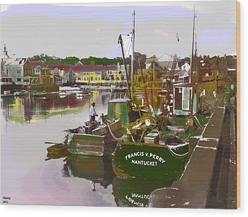 Wood Print featuring the mixed media Nantucket by Charles Shoup