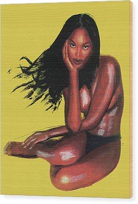 Naomi Campbell Wood Print by Emmanuel Baliyanga