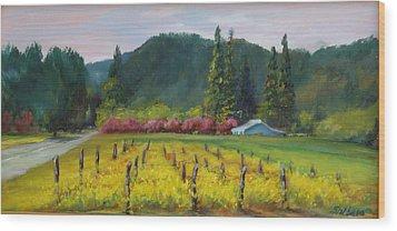 Napa Valley Mustards On Silverado Trail Wood Print by Deirdre Shibano