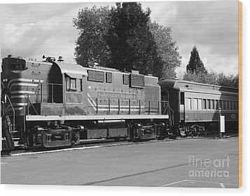 Napa Valley Railroad Wine Train Locomotive In Napa California Wine Country . Black And White . 7d899 Wood Print by Wingsdomain Art and Photography