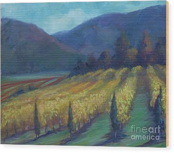 Napa Valley View From The Castle Wood Print by Deirdre Shibano