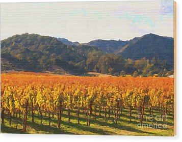 Napa Valley Vineyard In Autumn Colors Wood Print by Wingsdomain Art and Photography