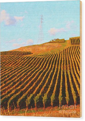 Napa Valley Vineyard . Portrait Cut Wood Print by Wingsdomain Art and Photography