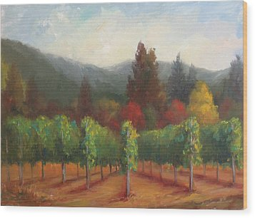 Napa Valley Vineyards Harvest Time By Deirdre Shibano Wood Print by Deirdre Shibano