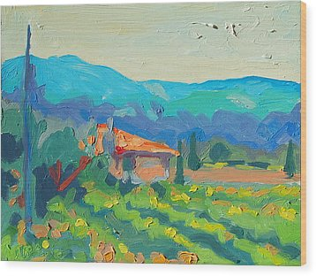 Napa Valley Vineyards With House And Hills Wood Print
