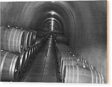 Napa Wine Barrels In Cellar Wood Print by Shane Kelly