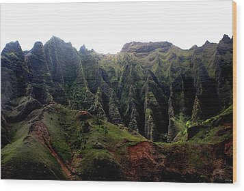 Napali Coast Hawai Wood Print by Luis and Paula Lopez