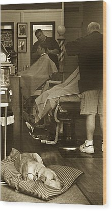 Napping At The Barbershop Wood Print by Steve Gravano
