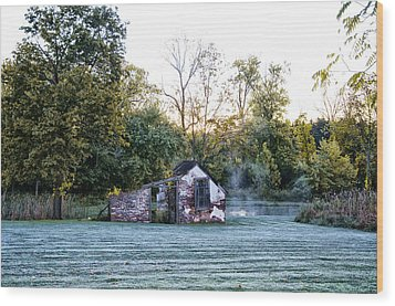 Narcissa Springhouse In Fall Wood Print by Bill Cannon