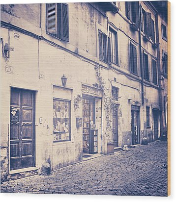 narrow street in Rome Wood Print by Joana Kruse