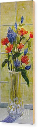 Wood Print featuring the painting Narrow Window Flowers by Gretchen Allen