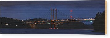 Narrows Bridges At Dusk Wood Print