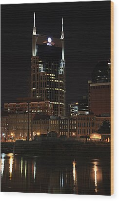 Nashville Skyline At Night Wood Print by Sam Amato