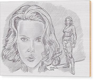 Natasha Romanova- Black Widow Wood Print by Chris  DelVecchio