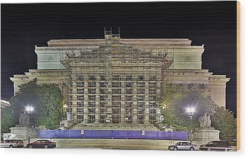 Wood Print featuring the photograph National Archives Building Renovation by Metro DC Photography