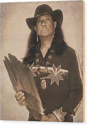Native American Seer Wood Print by Benjamin  Thomas