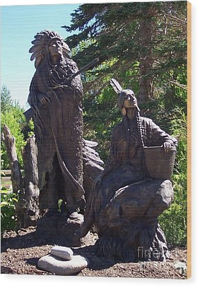 Wood Print featuring the photograph Native American Statue by Chalet Roome-Rigdon