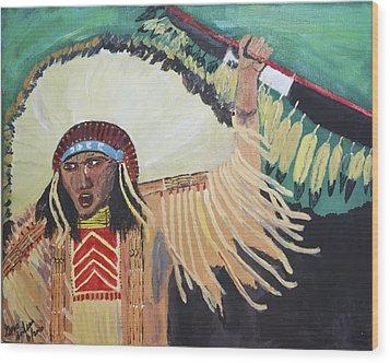 Native American Warrior Wood Print