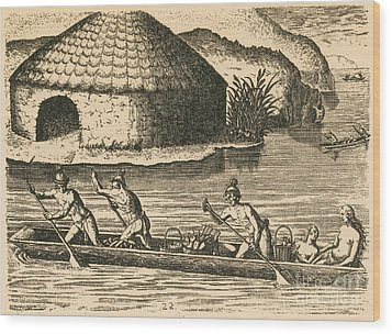 Native Americans Transporting Crops Wood Print by Photo Researchers