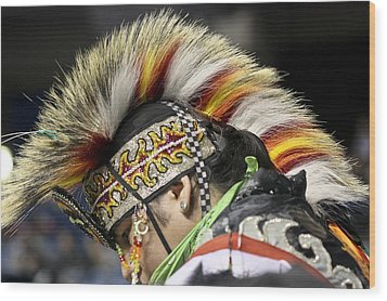 Wood Print featuring the photograph Native Canadian-head Dress by Nick Mares