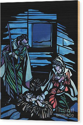 Nativity Stained Glass Wood Print by Methune Hively